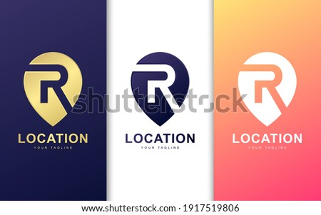 Minimalist R letter logo in pin location with modern concept Stock fotó ©