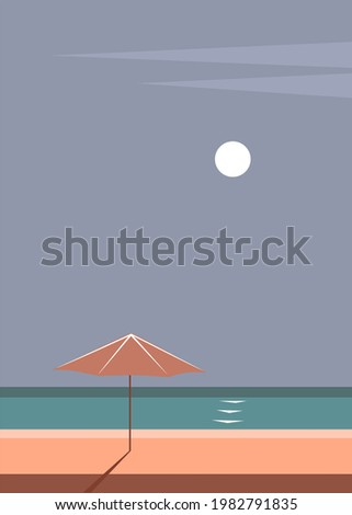 minimalist seascape with umbrella beach and sun in earthy colors, vector graphic print Stock photo ©