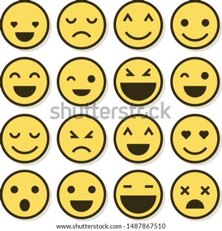 Minimalist set of emojis Vector set