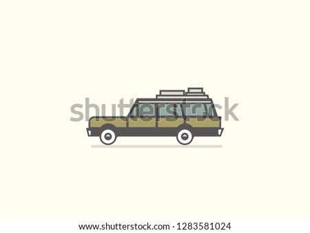Minimalist station wagon flat vector illustration.