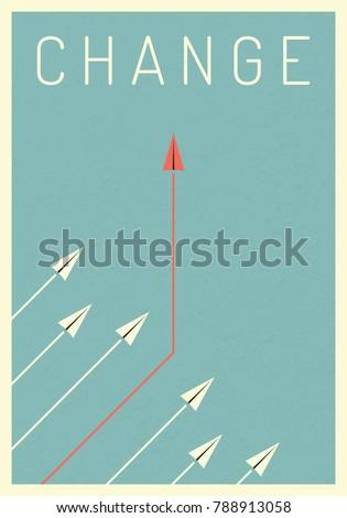 minimalist stile red arrow