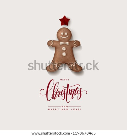 Minimalist Style Christmas Greeting Card with Gingerbread Man and Calligraphic Inscription
