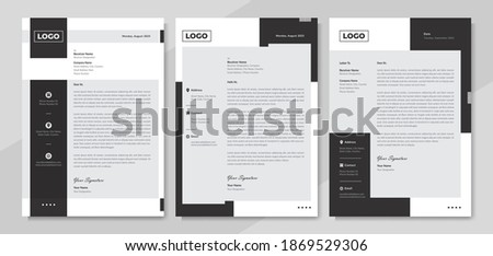 Minimalist style corporate business letterhead design in black and white. Modern elegant official letterhead template with company logo. Professional stationary and corporate identity graphic layout.