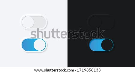 Minimalist Switch Button in Neumorphism Design. White and Black. Simple, modern and elegant. Smooth & soft 3D user interface. Light mode and Dark Mode. For website or apps design. Vector Illustration. Stock foto ©