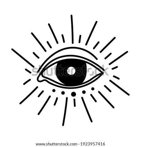 minimalist tattoo of an eye vector illustration design