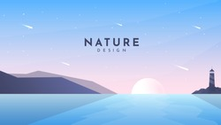 Minimalist vector abstract illustration. Flat style background. Sunset scene. Polygonal mountain and lighthouse on the rock. Sun reflection in water. Colorful backdrop. Blue wallpaper. Clear sky