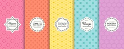 Minimalist vector geometric seamless pattern collection. Set of simple colorful background swatches with elegant minimal labels. Abstract modern textures. Pink, orange, yellow, blue, purple color