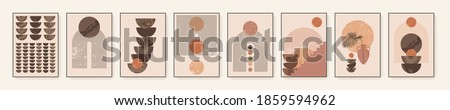 Minimalist wall art. Abstract geometric prints for boho aesthetic interior. Home decor wall prints. Burnt orange, terracotta colors. Sun, rainbow and clay pots. Contemporary artistic printable vector