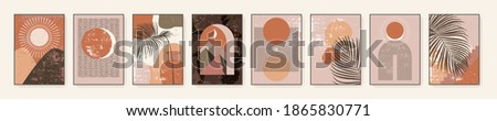 Minimalist wall art. Abstract landscapes for boho aesthetic interior. Home decor wall prints. Burnt orange, terracotta colors, mustard hues. Sun and moon. Contemporary artistic printable EPS10 vector