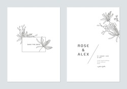 Minimalist wedding invitation card template design, floral black line art ink drawing decorated on rectangle frame on white
