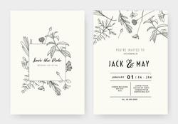 Minimalist wedding invitation card template design, floral black line art ink drawing with square frame on light grey