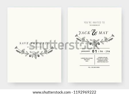 Minimalist wedding invitation card template design, floral black line art ink drawing wreath on light grey