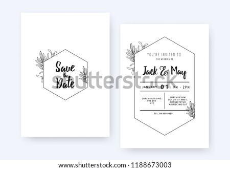 Minimalist wedding invitation card template design, foliage line art ink drawing with hexagon frame on white #1188673003
