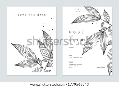 Minimalist wedding invitation card template design, leaves line art ink drawing on white