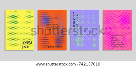 Minimalistic abstract vector halftone cover design template. Future geometric gradient background. Vector templates for placards, banners, flyers, presentations and reports. #742137010