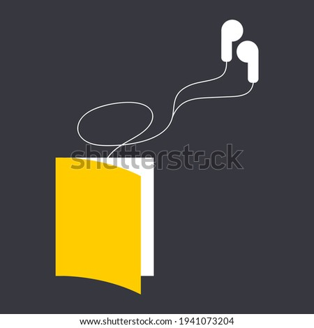 Minimalistic audiobook vector graphic illustration isolated on dark background. book with wired headphones connected to it. can be used as logo for audiobooks, advertising, web design element, icons Stockfoto ©