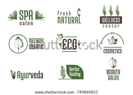 Minimalistic badge design. Floral, spa, wellness, ayurvedic, natural organic, eco. Creative isolated elements for your design.
