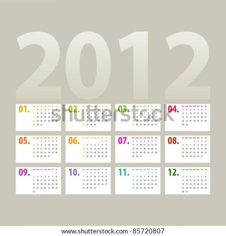 minimalistic 2012 calendar design - week starts with sunday