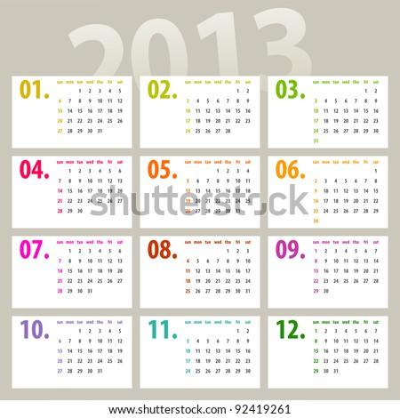 minimalistic 2013 calendar design - week starts with sunday