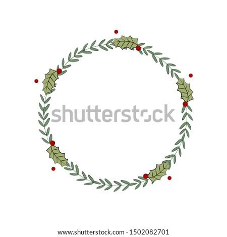 Minimalistic Christmas wreath. Chrismas template