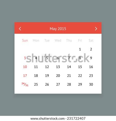 May 2015 Calendar Template Vector Free 123freevectors