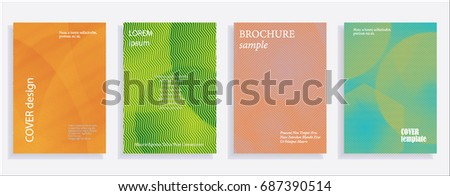 Minimalistic cover design templates. Set of layouts for covers of books, albums, notebooks, reports, magazines. Line halftone gradient effect, flat modern abstract design. Geometric mock-up texture