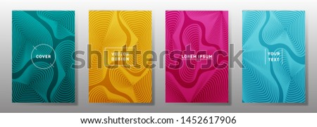 Minimalistic cover templates set. Fluid curve shapes geometric lines patterns. Digital backgrounds for notepads, notice paper covers. Line shapes patterns, header elements. Cover page templates.