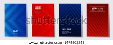 Minimalistic cover templates set. Geometric lines patterns with edges, angles. Abstract backgrounds for notepads, notice paper covers. Line shapes patterns, header elements. Cover page layouts set.