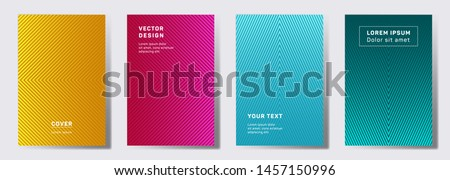 Minimalistic covers linear design. Geometric lines patterns with edges, angles. Halftone backgrounds for notepads, notice paper covers. Line stripes graphics, title elements. Cover page layouts set.