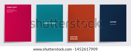 Minimalistic covers linear design. Radial semicircle geometric lines patterns. Digital poster, flyer, banner vector backgrounds. Line stripes graphics, title elements. Cover page templates.