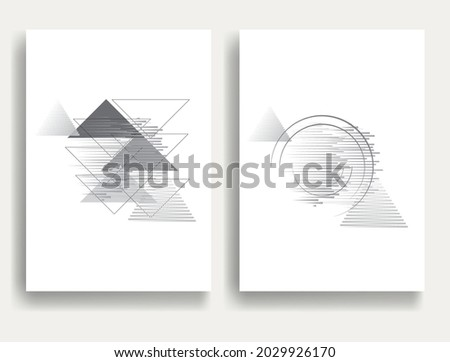 Minimalistic Creative concept . Flat style . Geometric lines and design elements form unusual shape . Vector abstract background . Dynamic banner with stripes .