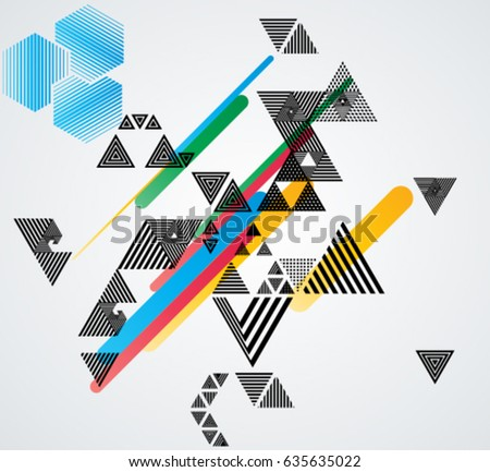 Minimalistic Creative concept . Flat style . Geometric lines and design elements form unusual shape . Vector abstract background . Dynamic banner with triangles.