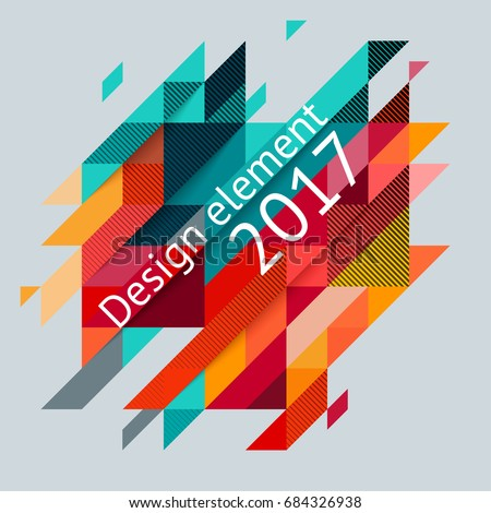 Minimalistic design, creative concept, modern diagonal abstract background Geometric element. Red, green and yellow diagonal lines & triangles. Vector-stock illustration In a modern flat style.