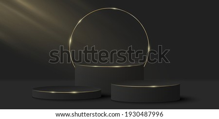 Minimalistic elegant stage for show your products. 3d black cylinder on a dark background. Light effect. Platform or podium with golden ring. Mock up for fashion presentation. Vector illustration.