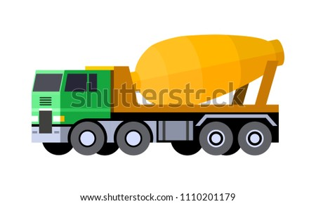 Minimalistic icon cement mixer truck front side view. Mixer truck vehicle. COE - cab over engine truck. Vector isolated illustration.