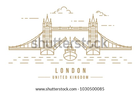 Minimalistic line-art landmark icon of the Tower Bridge in London, United Kingdom. Beautiful vector illustration.
