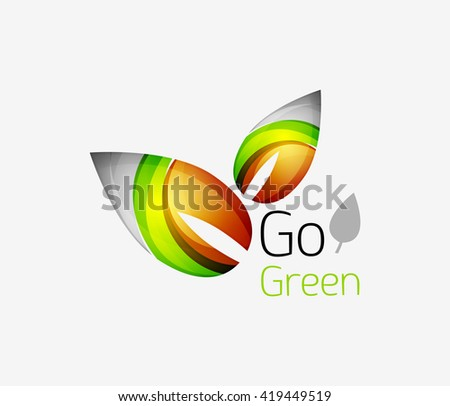 Minimalistic modern abstract leaf design, nature logo. Vector illustration