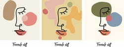 Minimalistic modern art drawings. Beautiful abstract female face art. Attractive young woman portraits. Line drawings. Pastel colors. Vector set of design templates and illustrations.