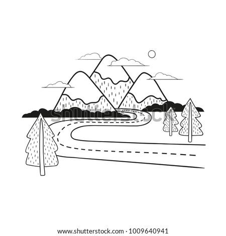 minimalistic mountain landscape
