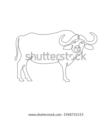 Minimalistic One Line buffalo Icon. Line drawing american bison farm animal. Buffalo animal one line hand drawing continuous outline tattoo art, Free single line drawing of buffalo Vector Illustration
