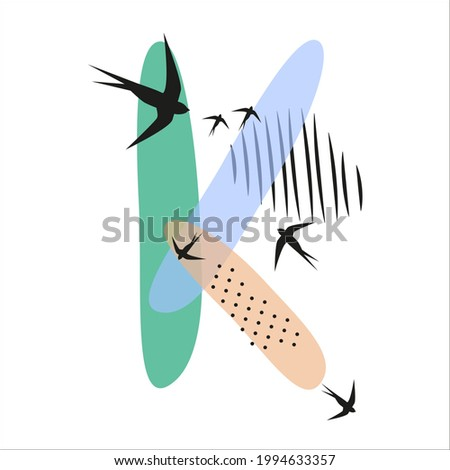 Minimalistic pattern an oriental style in form of letter K. Flock of swallows flies. Abstract objects, spots, dots, shadows in black ink and feather. Vector illustration, birds in form of hieroglyphs. Stock fotó ©