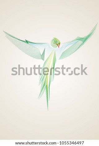 Stock Photo Minimalistic portrait of a parrot as phoenix in wireframe with color gradient on light background. Abstract portrait of a bird made with simple and clear lines suitable for posters tshirt and sticker