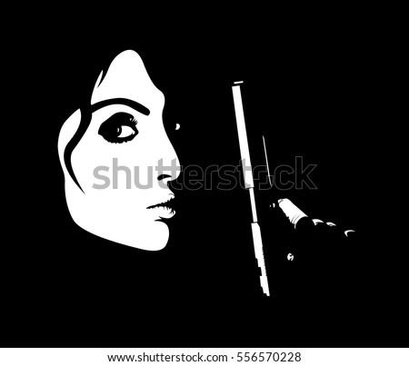 stock-vector-minimalistic-portrait-of-young-dangerous-woman-holding-handgun-easy-editable-layered-vector