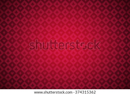 Minimalistic red poker background with texture composed from card symbols