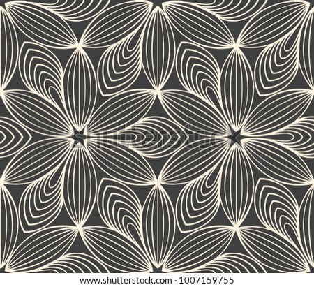 Minimalistic repeating linear flower pattern on grey background