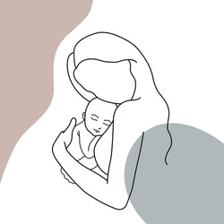 Minimalistic silhouette of woman holding baby. Mother and child. Modern illustration of mom with pastel colors. One line art.