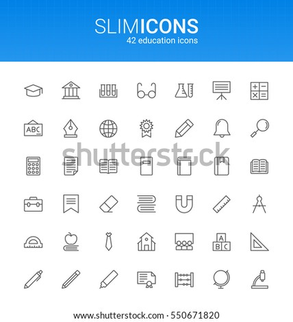 Minimalistic Slim Line Education Vector Icons