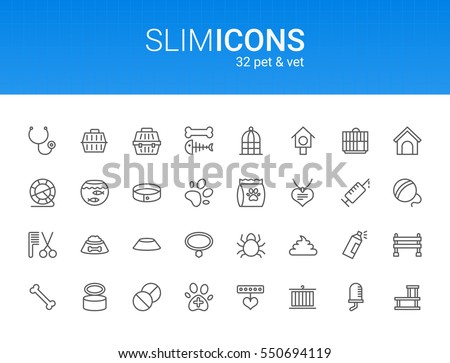 Minimalistic Slim Line Pet & Vet Vector Icons