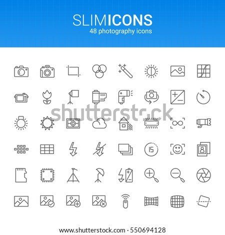 Minimalistic Slim Line Photography Vector Icons