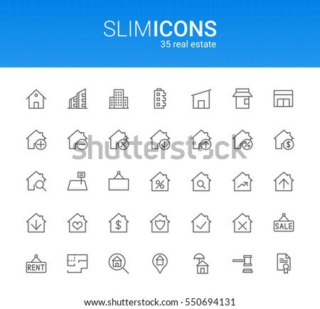 Minimalistic Slim Line Real Estate Vector Icons